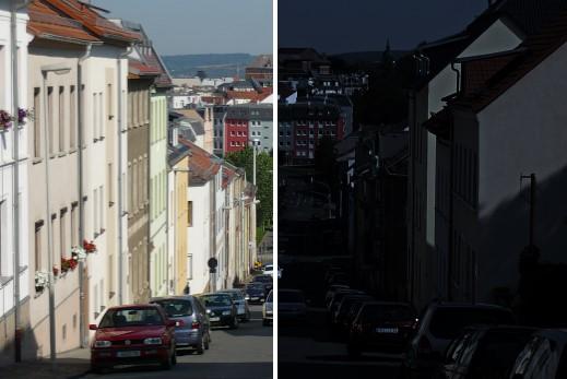 links: Original; rechts: Licht aus